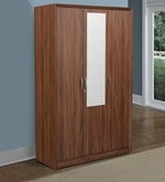Stark Three Door Wardrobe with Mirror in Walnut Colour