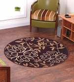 Taba Round Small Rug Floral Brown