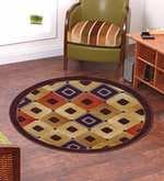 Brown Nylon 28 x 28 Inch Striped & Checkered Round Area Rug