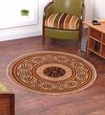 White Nylon 28 X 28 Inch Ethnic Round Carpet