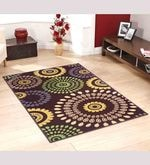 Brown Nylon Floral Round Area Rug