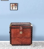 Storage Trunk Box in Heritage Brown Genuine Leather