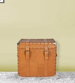 Storage Trunk in Tan Brown Leather