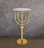 Stowe High Table with Glass Top & Golden Base