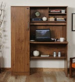 Study Table with Book Shelves & Cabinet in Knotty Wood Finish