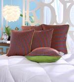 Multicolour Dupion Silk 16 x 16 Inch Cushion Covers - Set of 5
