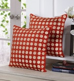 Orange Velvet 16 x 16 Inch Polka Dots Embroidered Cushion Cover - Set of 5
