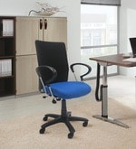 Stylized Geneva Ergonomic Chair in Blue and Black Colour