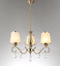 Stello White And Gold Metal And Crystal Chandelier - 1598126