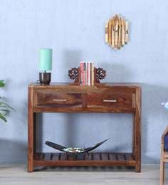 Stigen Solid Wood Console Table In Provincial Teak Finish