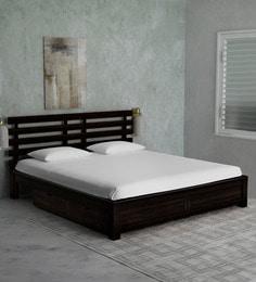 bed designs. Stigen Solid Wood Queen Size Bed With Drawer Storage In Warm Chestnut Finish Designs