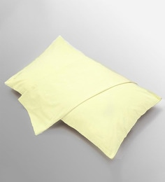 Stoa Paris Check Dobby Yellow Cotton Pillow Cover - Set Of 2