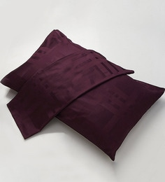 Stoa Paris Check Dobby Purple Cotton Pillow Cover - Set Of 2