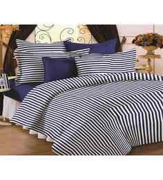 Story@Home Blue 100% Cotton Striped & Checkered Double Bed Sheet (with Pillow Covers) - Set Of 3