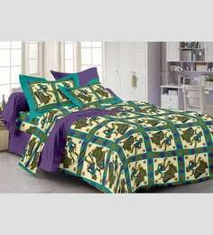 Story@Home Purple 100% Cotton Abstract Double Bed Sheet (with Pillow Covers) - Set Of 3