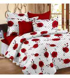 Story@Home Red & White 100% Cotton 88 X 100 Inch Magic Bed Sheet Set