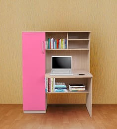 Study Table With Shelves U0026 Cabinet In Sandy Sawline U0026 Pink Finish