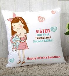 Stybuzz Polyester Multicolour 16 X 16 Inch Rakshbandhan Rakhi Gift Cushion Cover - 1619028