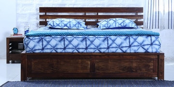 Stigen Queen Bed With Box Storage In Provincial Teak Finish