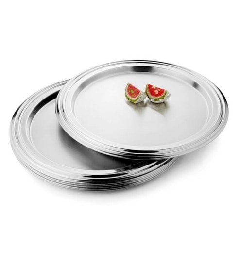 Steelcraft Stainless Steel Designer Dinner Plates - Set of 6  sc 1 st  Pepperfry & Steelcraft Stainless Steel Designer Dinner Plates - Set of 6 by ...