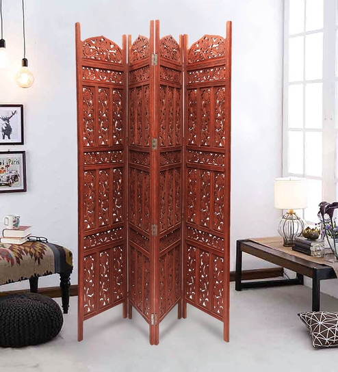 St  Clair Solid Wood 4 Panel Free-Standing Room Divider in Brown Finish by  Shilpi