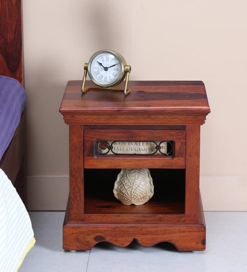 stafford bed side table in honey oak finish by amberville
