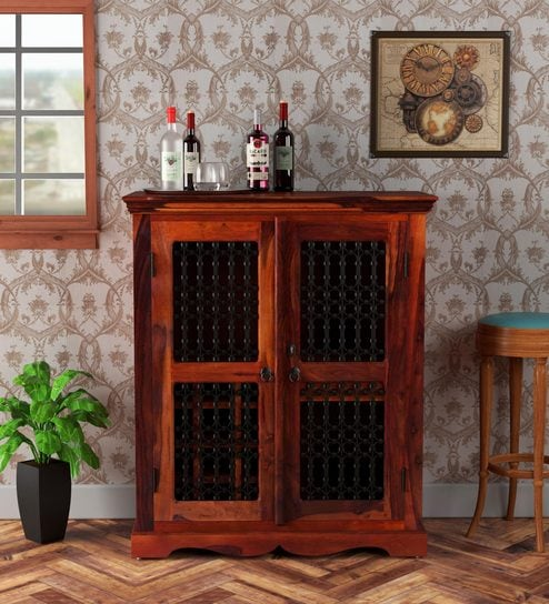 Buy Stafford Solid Wood Bar Cabinet In Honey Oak Finish By