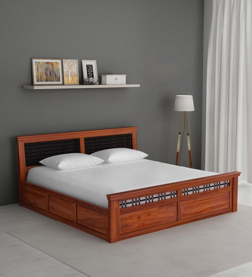 Buy Stafford Solid Wood King Size Bed With Box Storage In Honey Oak