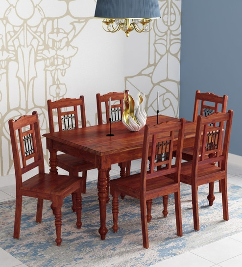 Awe Inspiring Stafford Solid Wood 6 Seater Dining Set In Honey Oak Finish By Amberville Download Free Architecture Designs Grimeyleaguecom