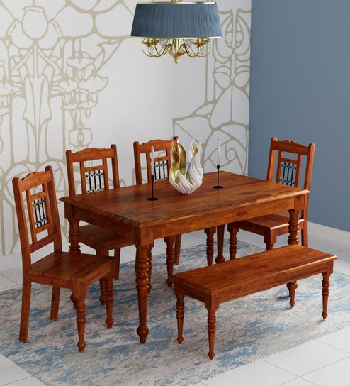 Buy Stafford Solid Wood Six Seater Dining Set With Bench In Honey Oak Finish By Amberville Online