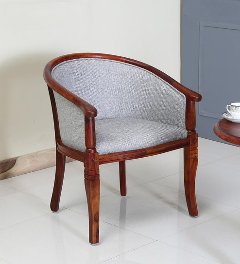 Stalley Solid Wood Arm Chair With Grey Upholstery In Honey Oak Finish By  Amberville