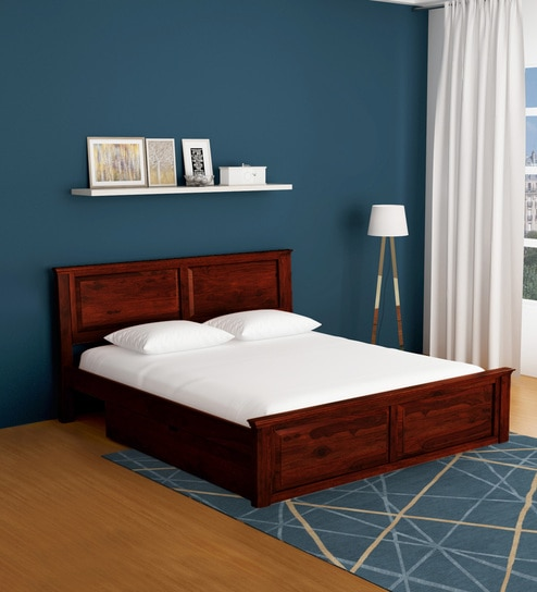 new product a3a24 c0506 Stanfield Solid Wood King Size Bed with Storage in Honey Oak Finish by  Amberville