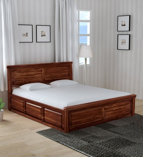 Buy Stanfield Solid Wood Queen Size Bed With Box Storage In Honey