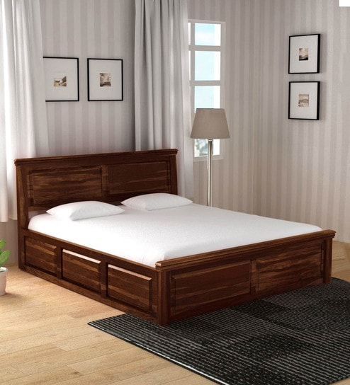 Stanfield Solid Wood Queen Size Bed With Box Storage In Provincial Teak Finish By Amberville