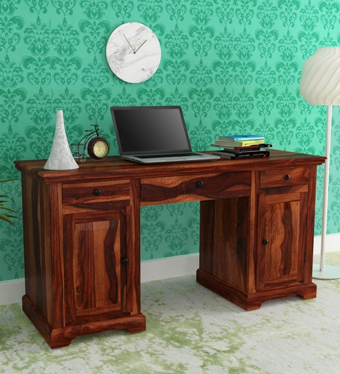Stanfield Solid Wood Study Table in Honey Oak Finish by Amberville