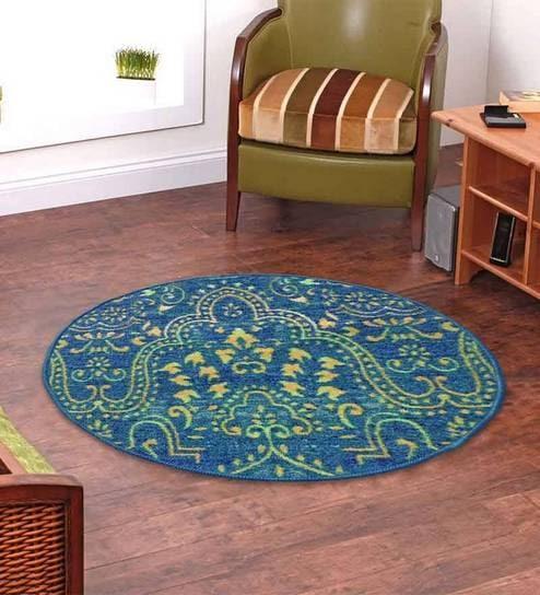 Ethnic Motif Nylon 28 x 28 Inches Machine Made Carpet by Status