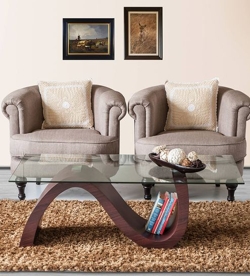 Stave Coffee Table With S Shape Base In Brown Colour By Durian