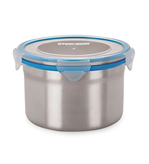 Steel Lock Silver Round 1.3L Container Set - Set of 2