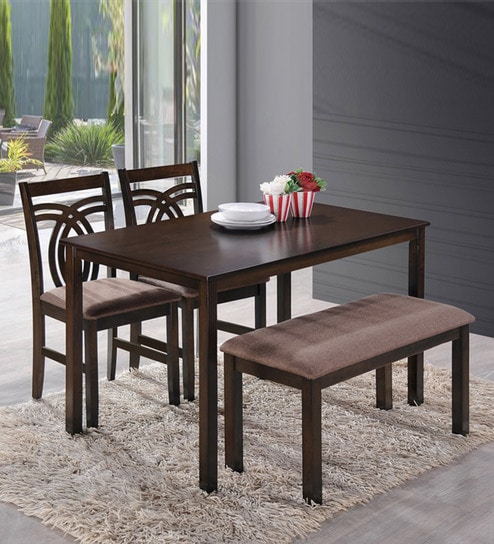 Stupendous Stella Four Seater Dining Set With Bench Two Chairs In Dark Walnut Finish By Hometown Ibusinesslaw Wood Chair Design Ideas Ibusinesslaworg