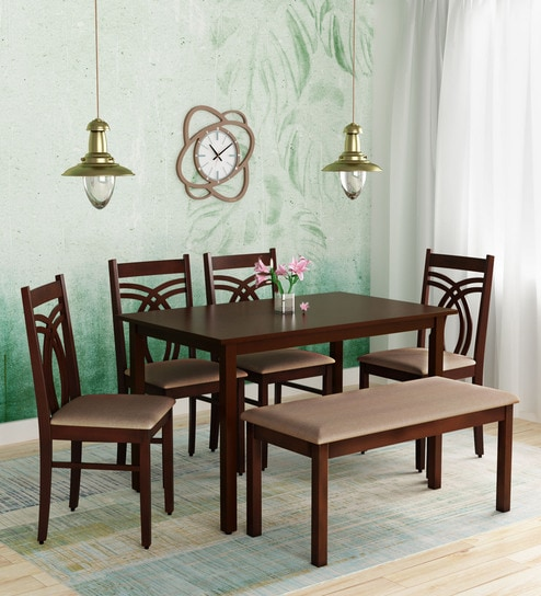 Stella Six Seater Dining Set With Bench Four Chairs In Dark Walnut Finish By Hometown Online Sets Furniture Pepperfry