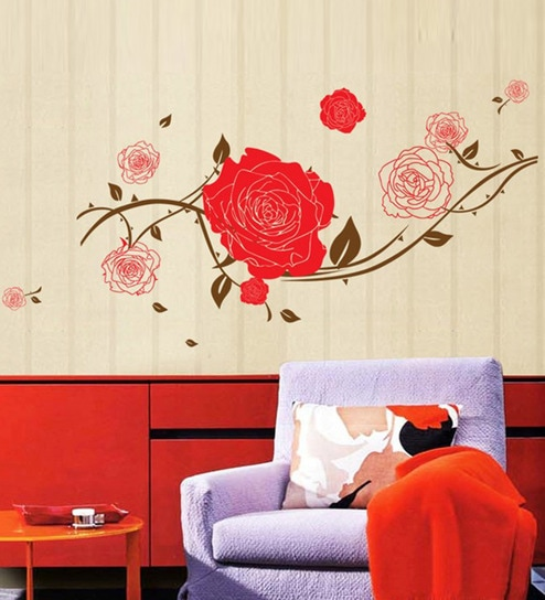 buy stickershopee pvc vinyl beautiful rose wall sticker online