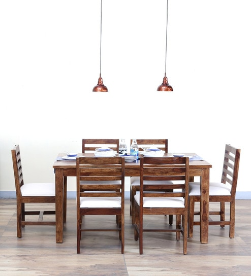 Stigen Solid Wood Six Seater Dining Set In Provincial Teak Finish By Woodsworth