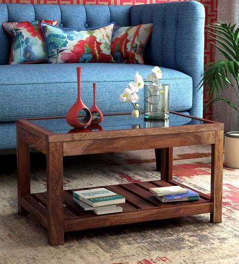 buy stigen solid wood coffee table in provincial teak finish by