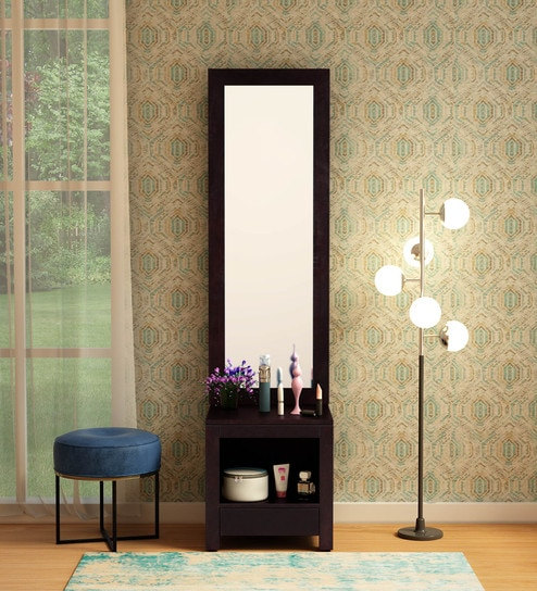 Stigen Solid Wood Dressing Table with Mirror in Warm Chestnut Finish by  Woodsworth