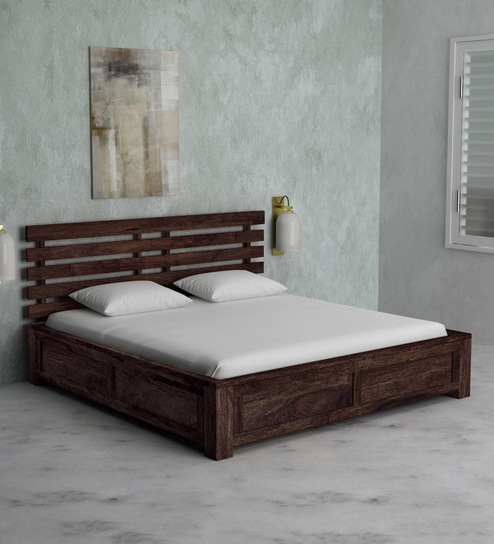 Buy Stigen Solid Wood King Size Bed With Box Storage In Provincial Teak Finish By Woodsworth Online Contemporary King Sized Beds Beds Furniture