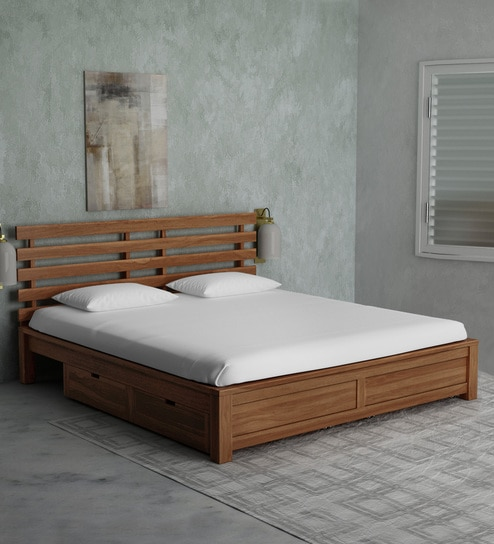 Buy Stigen Solid Wood King Size Bed With Drawer Storage In