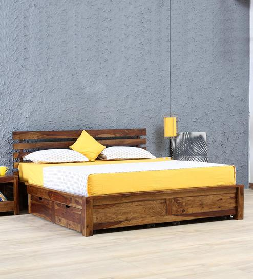Buy Stigen Solid Wood Queen Size Bed with Drawer Storage in