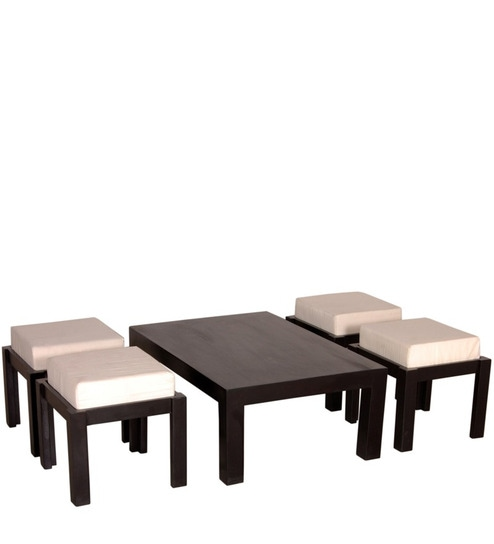 Stockholm Compact Coffee Table With 4 Stools