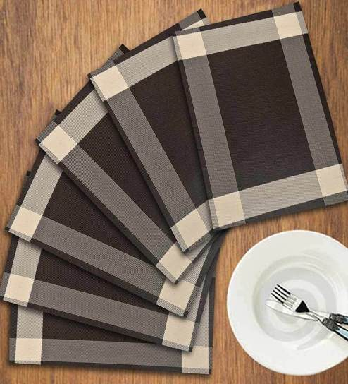 Story @ Home Brown PVC Berry Dining Mats Set Of 6