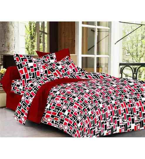 Story @ Home Trendz Black And Red Boxes Bed Sheet Set (2 Single Bedsheets +
